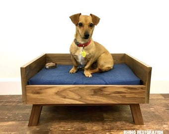 Walnut Pet Bed with Mid Century Modern Lines - Solid Wood - Hand Crafted - High Back - Customize - Angled Wood Legs