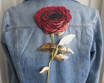 Large sequin embroidery rose flower applique patch IRON-ON red / gold UK seller