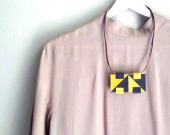 Dark Purple & Yellow Necklace - Statement Necklace - Leather Necklace - Geometric Necklace - Pendant - Square - Triangle - Rectangle - Bib