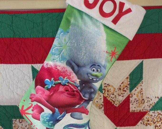 "Dreamworks 19"" Trolls Christmas Stockig Poppy & Branch JOY Plush Cuff - Personalized"