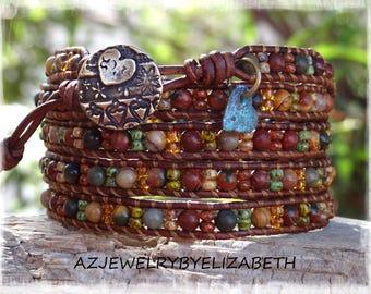 Beaded Wrap Bracelet/ Seed Bead Leather Wrap Bracelet/ Gemstone Bracelet/ Seed Bead Leather Bracelet/ Boho Wrap Bracelet/ Bohemian Bracelet.