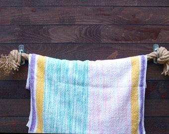 Towel Holder-set of 2-handmade - natural hemp rope- for bathroom or kitchen-garage-patio-backyard