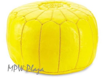 Sale-Canary Yellow Moroccan Leather Pouf / Ottoman