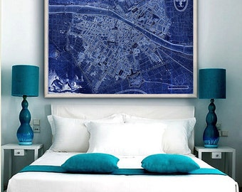 "Map of Florence 1847, Old Florence map in 4 sizes up to 48x36"" (120x90cm) Map of Firenze, Italy, also in blue - Limited Edition of 100"