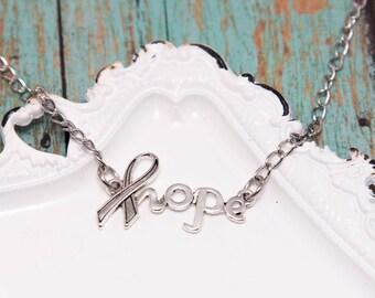 Hope Awareness Ribbon Necklace - MS Awareness - Awareness Ribbon Jewelry - Chronic Illness - Autoimmune - Multiple Sclerosis