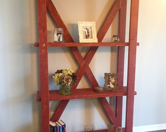 Distressed Red Bookcase