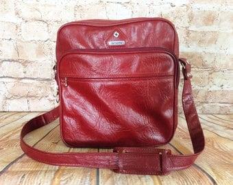 Vintage Samsonite Flight Bag Overnight Case Sports Bag Messengers Student Burgundy Grained Faux Leather c 1970s