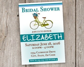 Vintage Bicycle/Teal/White/Brown/5x7/Bridal Shower/Invitation/Printable
