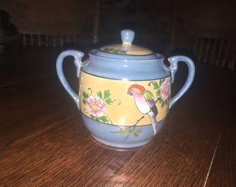 Vintage Lustreware Sugar Bowl Hand Painted Bird And Flowers Made In Japan