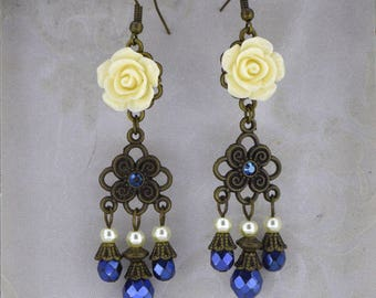 Elegant Victorian Earrings - Bronze, blue, and ivory vintage style