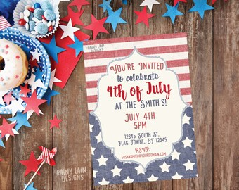 Vintage 4th of July BBQ Invitation, Red White and Blue BBQ Invite, 4th of July Party Invitation, Stars and Stripes Invitation, Printable