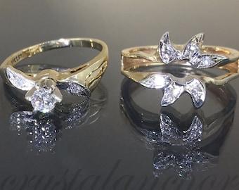 2pcs Vintage 14k Yellow gold Natural VS Diamond solitaire engagement 2 pc ring