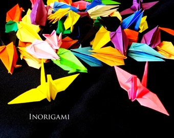 "100 Origami 3"" Cranes / Various colors / Multi colors / Decoration / wedding / Party / interior / Baby shower / Japanese style / Gift ideas"