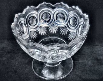 US Glass Pressed Glass Large Open Compote in the Star in Bulls Eye pattern circa 1902