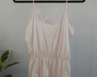 Vintage/ Blush Pink Soft Teddy/Onesie /Camisole With Lace Details