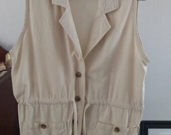 Vintage/ Cream Ecru Raw Silk Button Down Waistcoat / Vest