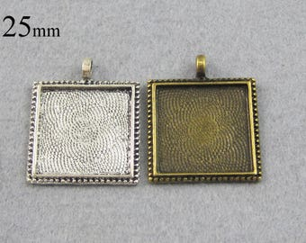 25 Pieces 25mm Square Pendant Setting, Bezel Pendant Blank, 25mm Cameo Settings  - Silver, Bronze, Copper, Antique Silver