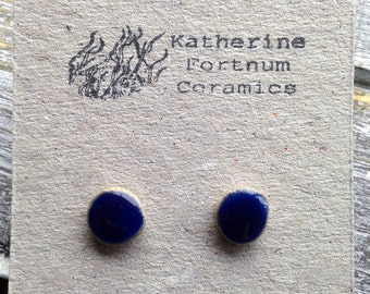 Stud Earrings, Hand made, Ceramic, Sterling Silver,Scroll Back, Round, Jewellery, Unique, Dainty, cobalt blue, gloss, Glazed White Stoneware