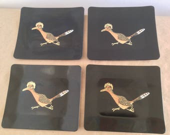 Vintage Set of 4 Couroc Road Runner Small Trays Mid Century