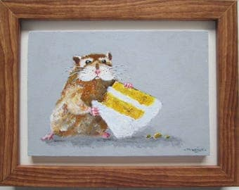 original hamster art / mouse art, gerbil art, cake eater, hamster acrylic painting, kitchen decor, kitchen wall hanging, rodent pet painting