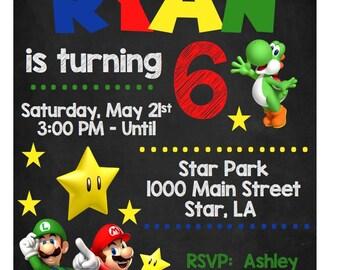 Super Mario Brothers Birthday Invitation, Luigi Yoshi Spiny Star Power