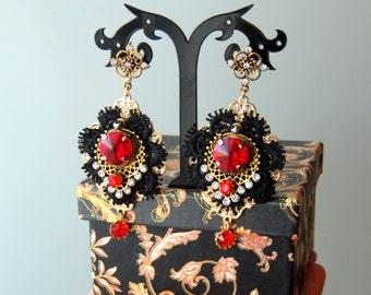 Earrings  Dolce  style - Ruby night