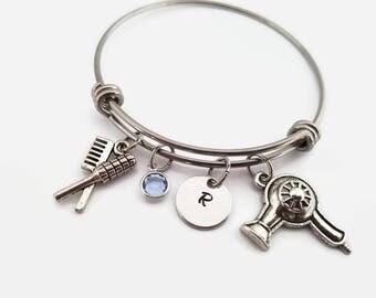 Hair stylist bangle - bracelet for hair stylist - gift for hair dresser - personalized bangle bracelet - cosmetologist beauty school grad