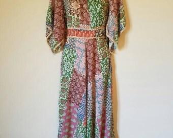 Vintage Hippie Dress 60's 70's Maxi Floral Groovy Pattern Woodstock 1960s Style Folk Chic Fairy