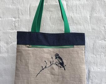 Bird on Branch Linen Denim Zip Pocket Tote Bag