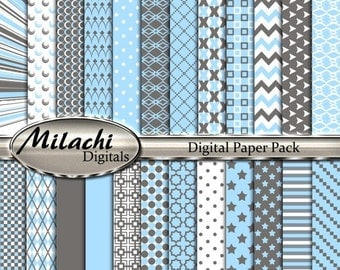 60% OFF SALE Light Blue and Gray Digital Paper Pack, Scrapbook Papers, Commercial Use - Instant Download - M203
