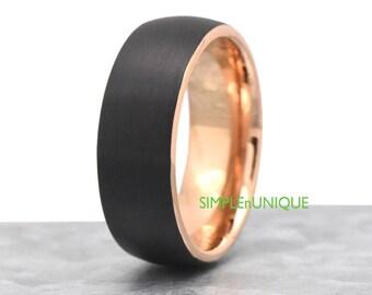 Unique Mens Ring Band Tungsten Wedding Black