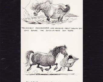 Pony cartoon by Norman Thelwell an original, humorous 1962 book print, mounted/matted ready to be framed.