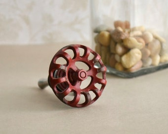Retro, red faucet handle bottle stopper. Make a statement with this super fun piece!!