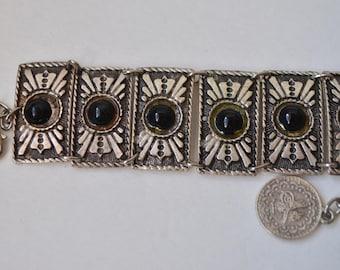 Vintage Silver Carved panel Black Bead Link Bracelet