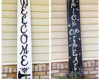 WELCOME Front Porch Sign, Reversible Welcome Sign, Seasonal Outdoor Decor, Wooden Welcome SIgn