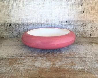 Planter Ceramic Planter Vintage Succulent Planter Mid Century Ceramic Terrarium Planter Pink Flower Pot Vintage Pink Circular Flat Planter