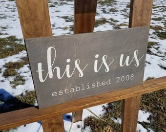 This Is Us Sign - Family Established Sign - Wedding Gift Last Name Establish Sign - Home Established Sign - Family Sign - Wood Wall Art