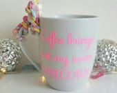 Unicorn personalised coffee tea mug. Any quote, name, personalisation