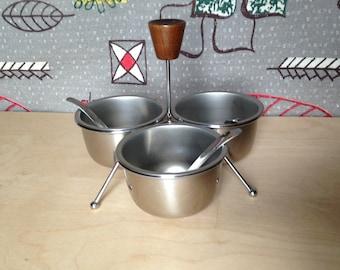 Retro Mid Century Condiment Server Set, Vintage Stainless Steel Bowls Set, Mid Century Modern Condiment Set, Danish Modern Condiment Set
