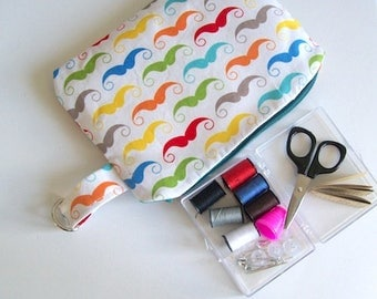 Sewing kit travel kit mini sewing bag Bright Moustache Design
