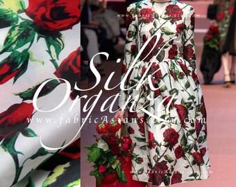 Red Rose white organza Silk by yard