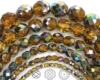 12mm (34pcs) Topaz Vitrail coated, Czech Fire Polished Round Faceted Glass Beads, 16 inch strand