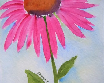 Purple Coneflower Watercolor Notecard