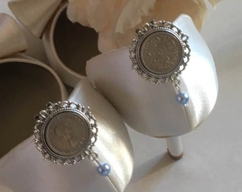 Something Blue Lucky Sixpence Shoe Clip Charms/Photo/Wedding/Bridal