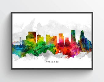 Portland Oregon Skyline Poster, Portland Cityscape, Portland Decor, Portland Art, Home Decor, Gift Idea, USORPO12P