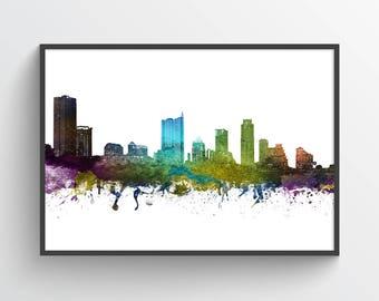 Austin Poster, Austin Skyline, Austin Cityscape, Austin Print, Austin Art, Austin Decor, Home Decor, Gift Idea, USTXAU01P