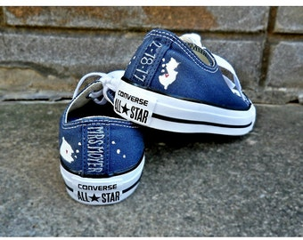Navy Blue Wedding Shoes Bride's Converse Home State Converse, Wedding Chucks Bridal Converse Something Blue Converse Hand Painted Shoes