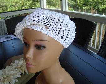 Women summer beret. Women hat. White summer beret. Crochet summer beret.