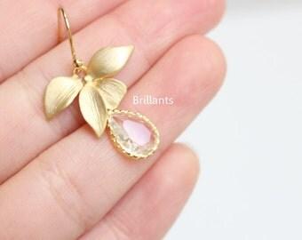 Orchid and Clear stone earrings in gold, Bridesmaid gift, Flower earrings, Bridesmaid earrings, Wedding earrings, Gold earrings