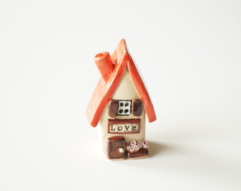 Ceramic Love House, Little Ceramic house, Miniature house, Little rustic cottage, Ceramic houses